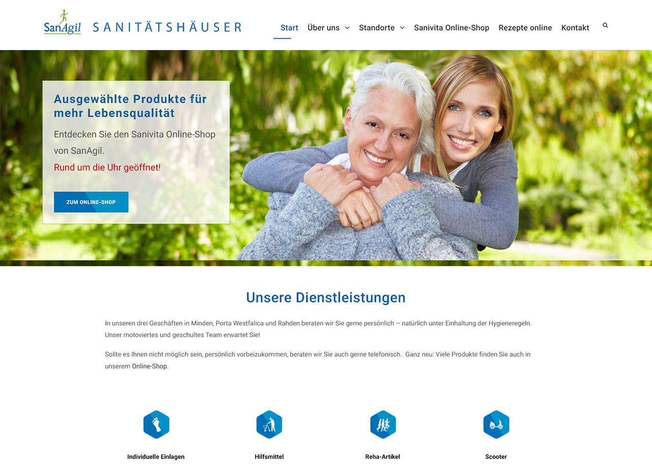 SanAgil Sanitätshäuser in Minden, Porta-Westfalica und Rahden